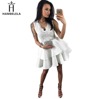 95a9bbc25284e7 HAMBELELA Sweet White Red Embroidery Lace Dress Sleeveless Layered Skater  Mini Dress Woman Summer Cocktail Party
