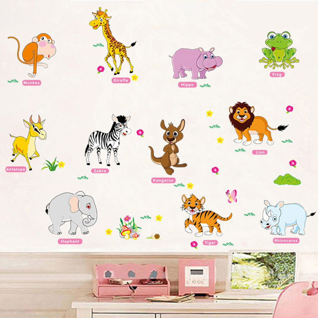 Hot Adventure Animals Wall Stickers for Kids Nursery Rooms Baby Home Decor Poster Wall D ...