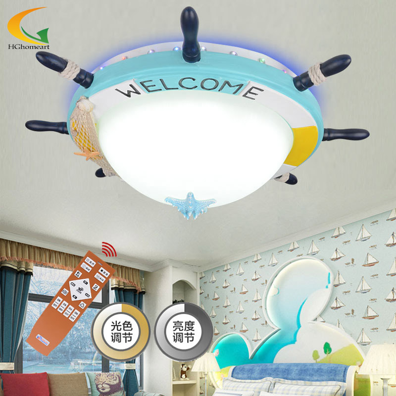 Mediterranean color Rudder childrens room lamp room lighting fixtures cartoon creative LED chandeliers