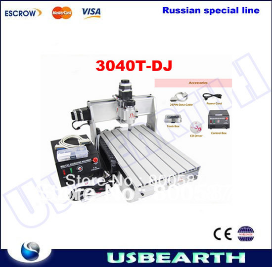 CNC router CNC3040, 300w spindle motor CNC 3040T-DJ engraving drilling/ milling machine, Freeshipping to Russia, no tax! cnc router engraving machine diy 2520 4axis engraving drilling and milling machine with rotary axis no tax to ru