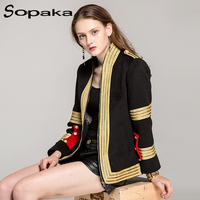 Luxury 2017 New Fashion Winter Black Coat Ruway Women S High Quality Gold Stripes Embroidery Epaulet