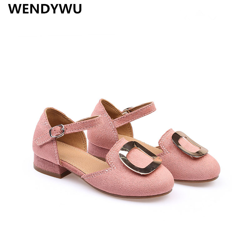 WENDYWU spring autumn girls pu leather shoe for baby girl brand party heel shoes kids pink shoes fashion mary jane toddler