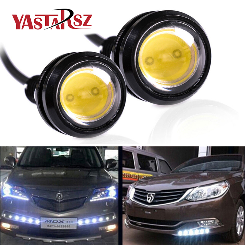 1 car styling waterproof white eagle eye 12 led daytime running light drl backup reverse license plate parking turn signal lamp Car styling 1pcs 18MM Led Eagle Eye DRL Daytime Running Lights Source Backup Reversing Parking Signal Lamps Waterproof Car led