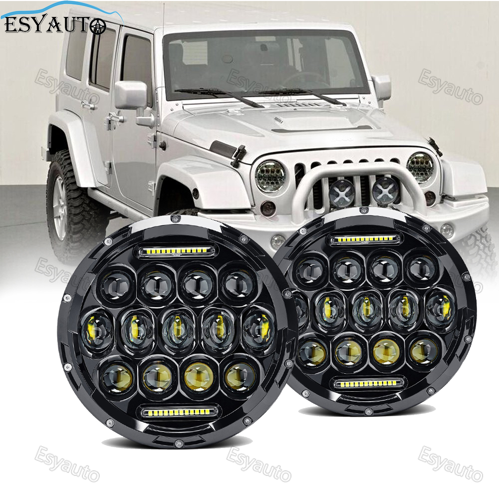 Round LED headlight 7 inch 75W Headlights Hi/Lo Beam 6000K LED white Angel eye Daymaker LED headlamp for jeep Wrangler