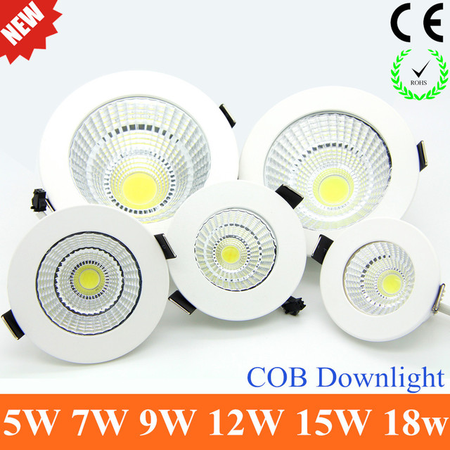 2018 Newest Dimmable LED Recessed Downlight 5W 7W  9W 12W 15W COB Chip LED Ceiling light Spot Light Lamp White/ Warm white