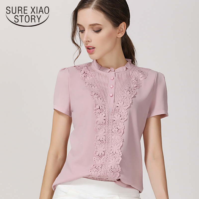 New 2018 Summer Short Sleeve Chiffon Women Blouses Shirts Tops Fashion  Lace Chiffon Women Blouse Shirt Blusas Feminine  37F 30