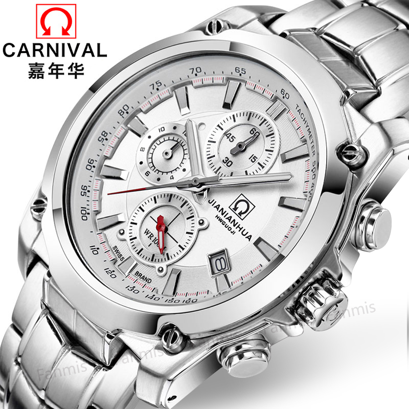 Carnival Quartz Watch Men Japanes Movement Waterproof 100m Diving Sports Wristwatch Stainless Steel Luminous Relogio Masculino цена и фото