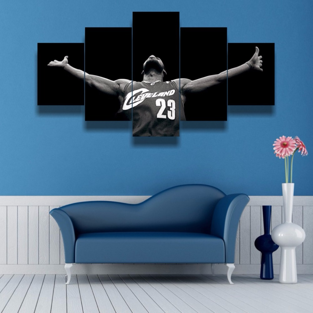 Canvas Wall Art Posters Prints Canvas Painting Wall Modular Pictures 5 Panel Basketball Sports For Living Room Home Decor