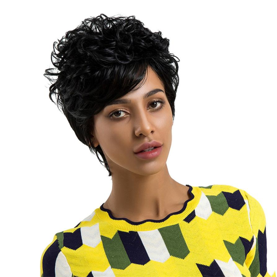 Womens Fashion Natural Short Curls Hair Wigs Cosplay Full Wig human hair wig 0703