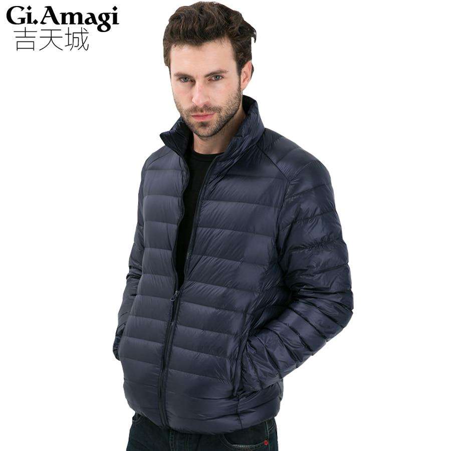 2017 осень-зима утка Подпушка куртка, ультра легкий тонкий большие размеры зимняя куртка для Мужская мода мужские Верхняя одежда, пальто