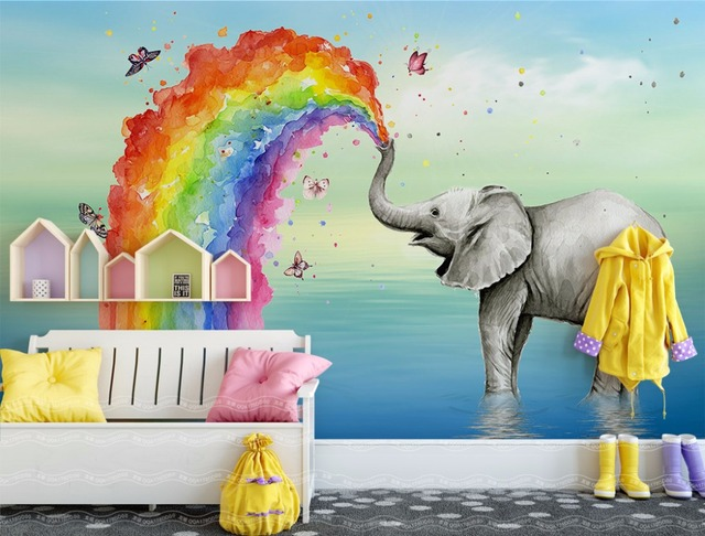 Custom 3D Mural Bedroom TV Sofa Wall Backdrop Hand Paint Rainbow Elephant Childrenu0027s  Room Kids Wall Mural Decor Photo Wallpaper