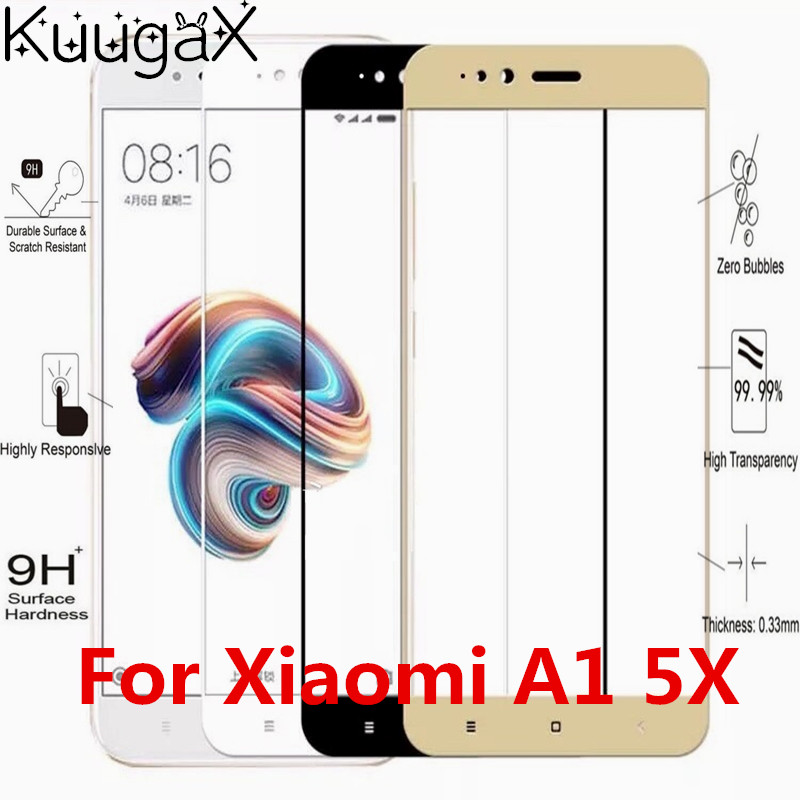 Screen protective all cover Tempered Glass For xiaomi A1 5X MI MI5X MIA1 9H cover 5.5 inch smartphone toughened case on crystals