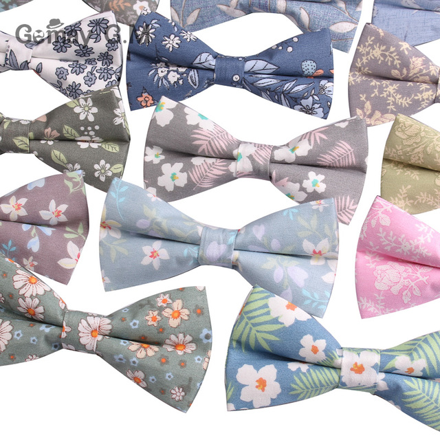 d4037e1762a0 Brand Floral Print Mens Bowtie Casual Shirts Bow tie For Men Business  Wedding Cotton Bowknot Adult