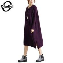Oladivi 2017 Зима Для женщин Платья-свитеры в Корейском стиле Повседневное трикотажные Платья-свитеры дамы свободные длинные платья плюс Размеры XXXXXL 5XL