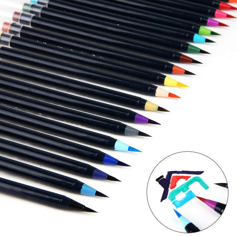 20 colores de pincel suave juego de rotuladores de pintura de acuarela pluma para dibujar caligrafía bocetos libros para colorear marcador para artistas pluma