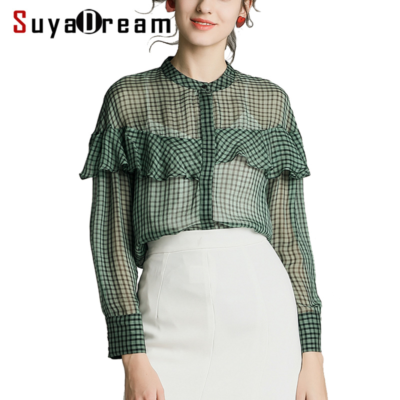 Women Plaid   Blouse   100% REAL SILK Georgette Printed   Blouse     Shirt   Long Sleeved 2019 Spring Summer   Shirt   Green