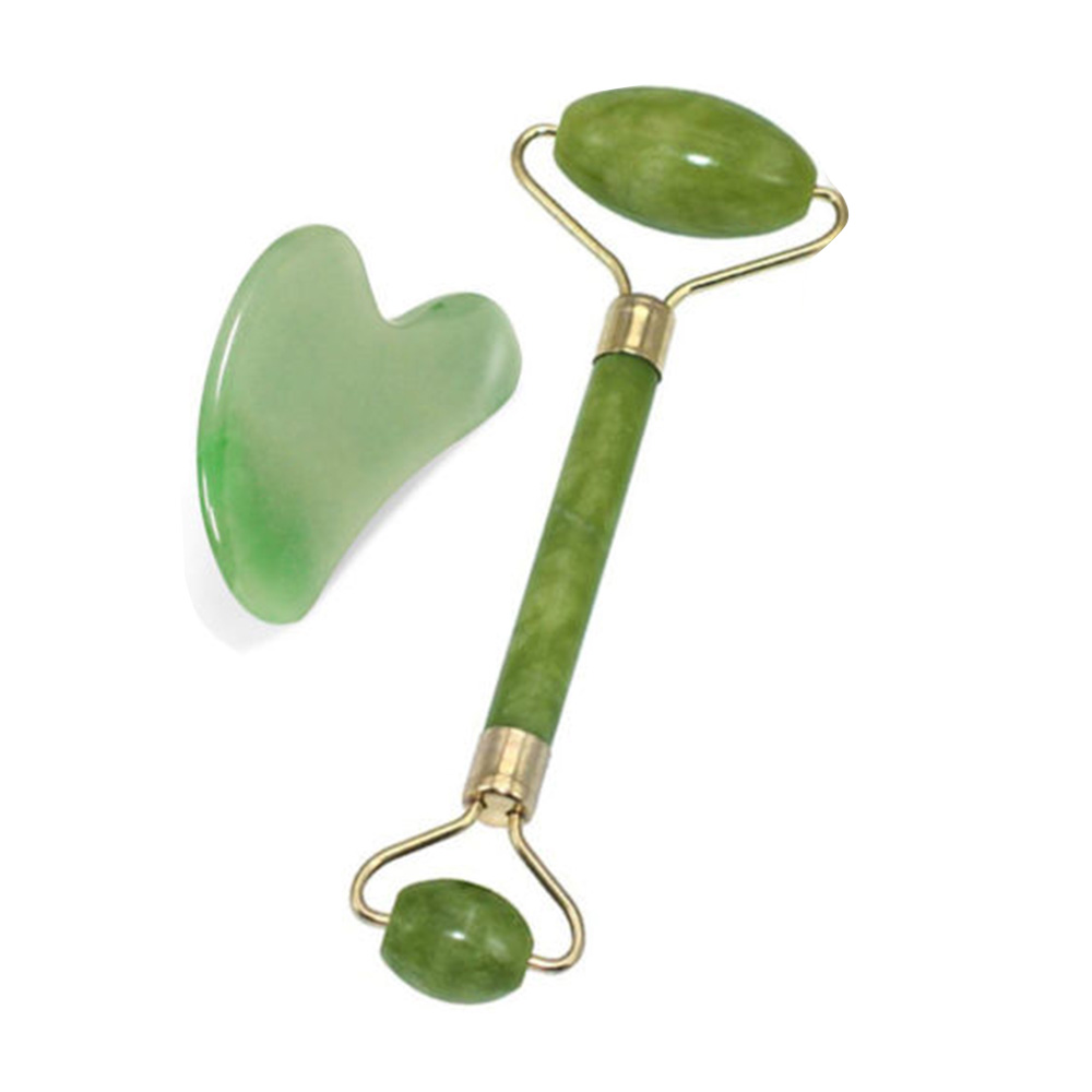 2 In 1 Green Roller And Gua Sha Tools Set By Natural Jade Scraper Massager With Stones For Face Neck Back And Jawline