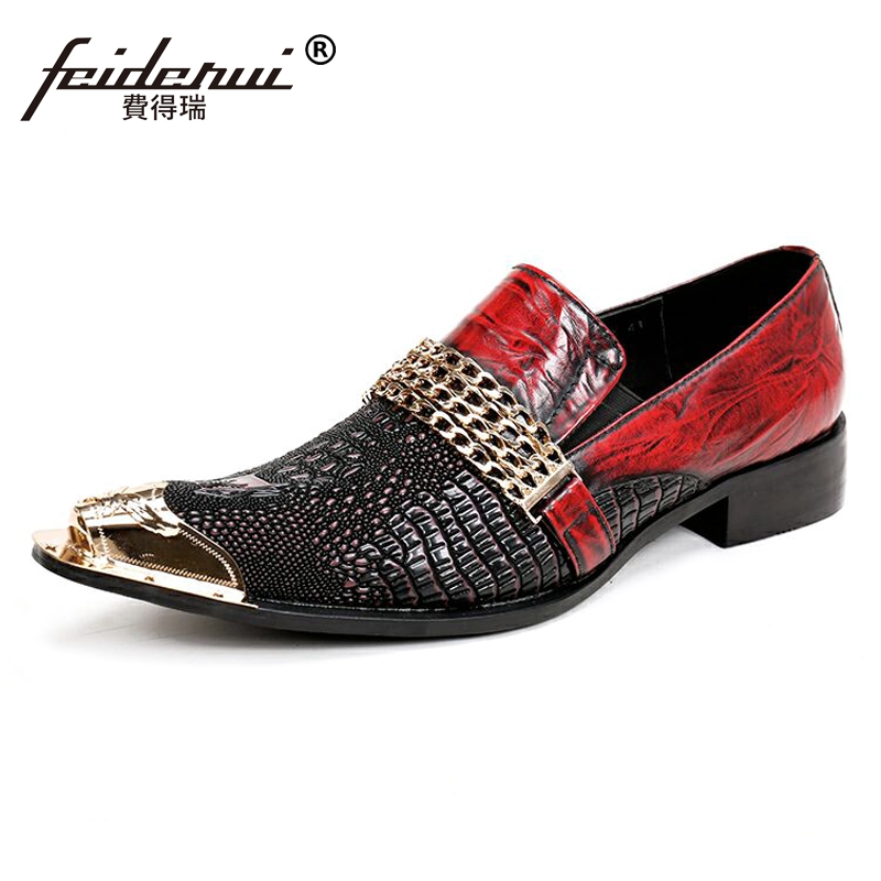 Plus Size Pointed Toe Slip on Alligator Man Loafers Luxury Designer Genuine Leather Wedding Party Men's Runway Shoes SL146 luxury pointed toe rivet casual shoes england designer party and banquet men loafers fashion young man walking street shoes