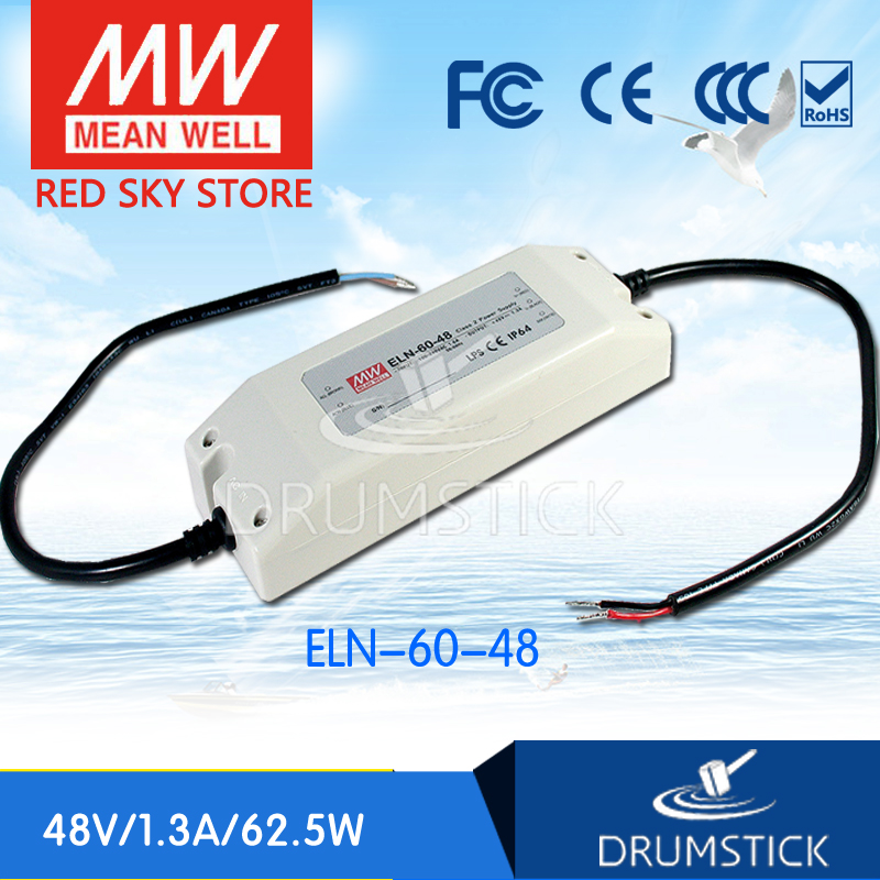hot-selling MEAN WELL ELN-60-48 48V 1.3A meanwell ELN-60 48V 62.5W Single Output LED Driver Power Supply [Real6] круг надувной intex hello kitty
