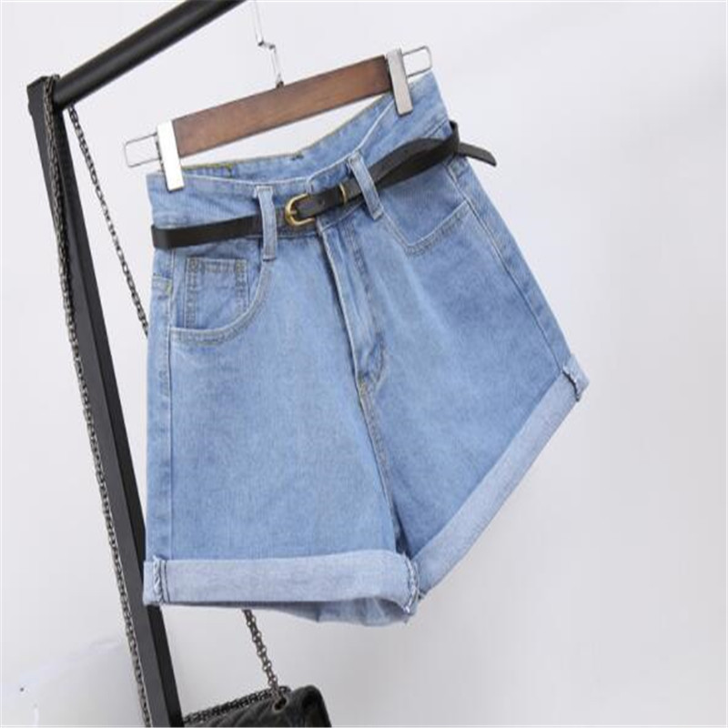 Retro High Waisted Denim   Shorts   For Women Rolled Denim Jeans   Shorts   With Pockets Summer Loose Slim   Shorts   Excluding belts