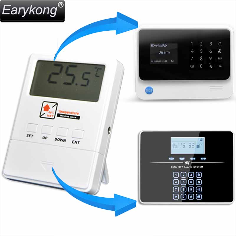 NEW Earykong Wireless Temperature Detector 433MHz, For G33 / G90B Plus Wifi GSM Alarm System, High Low Temperature Range Alarm new wired temperature adjustable detector for all the alarm system low high temperature alarm function led display alarm sensors
