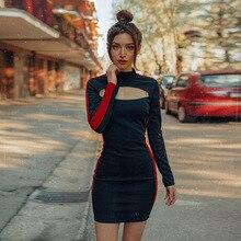New Winter Dress Elegant Fashion Stitching Contrast Color Hollow Tube Top  Bag Hip Bandage Dress Sexy 62c5d7d9d9c0