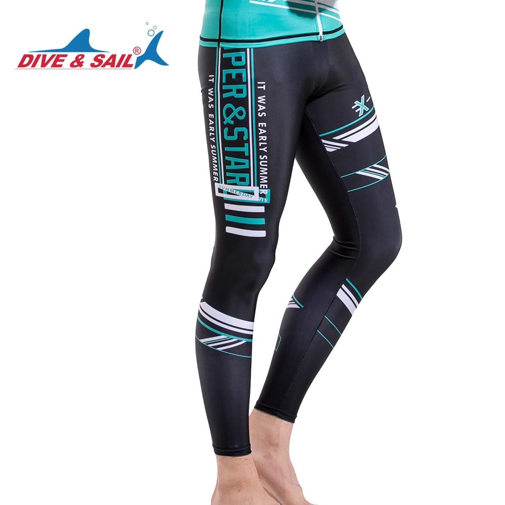 DIVE&SAIL Men Long Swimwear UPF50+ Anti-UV Diving Skin Surfing Swim Pants GYM Sports Yoga Pants Lycra Rushguard Quick-dry