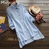 Spring Autumn Casual Sweet Shirt Women S Cotton Linen Irregular Hem Solid Long Sleeve Turn Down