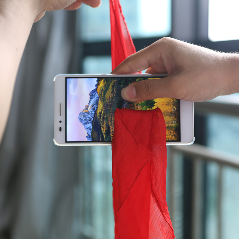 Close-up Magic Tricks Red Silk Through Phone Magic Props Easy To Do Professional Magician Scarf Through The Phone