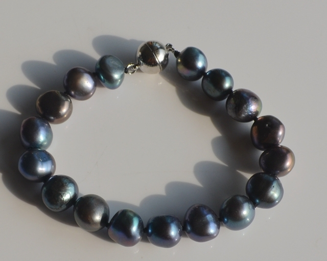 women jewelry 10-11mm natural baroque freshwater black colorful pearls irregular shaped Bracelet