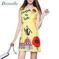 Womens Dress High-End Ladies Sleeveless O-Neck Flower Printed Dresses Vestidos Summer Style Female Slim Mini Party Dress