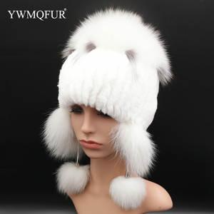 6cd88d1fb6cfd Winter Knitted Women Hat Fox Rabbit Fur Beanies Female Caps