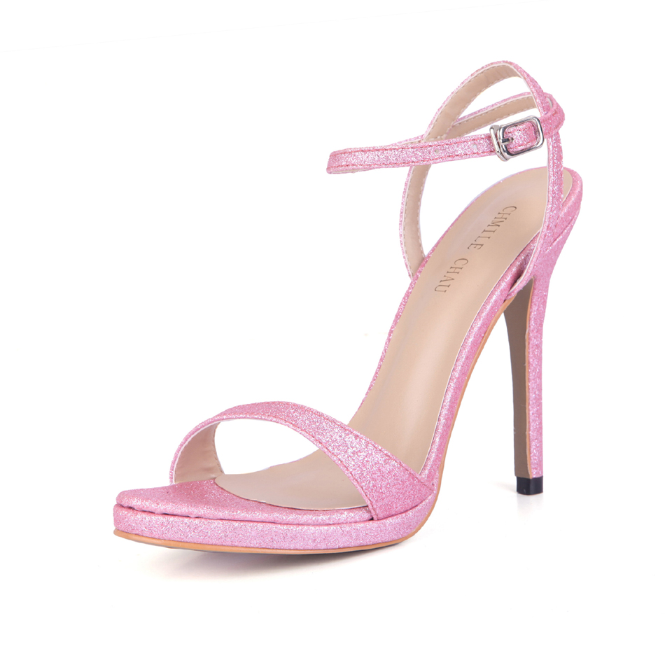 Sexy Glitter Bridal Party Ankle Strap Stiletto High Heel Women Sandal Sandales Femmes Mariee Talon Haut Aiguille YJ0640ASL a4 in High Heels from Shoes