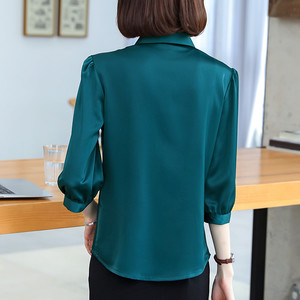 Image 3 - Naviu 2019 New Fashion High Quality Satin Shirt Women Tops and Blouses Office Lady Style Formal Shirt Plus Size Work Wear