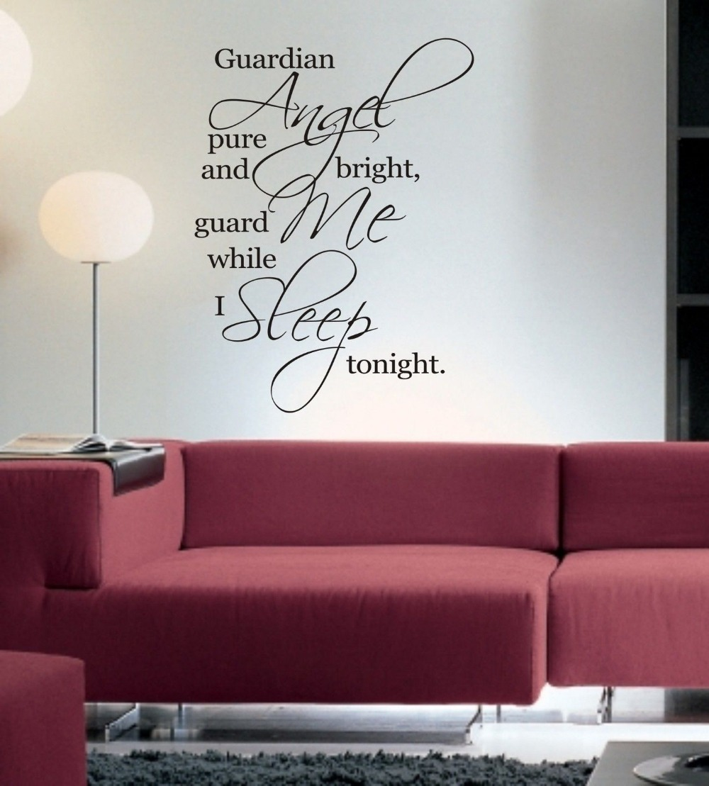Bedroom wall art quotes - Guardian Angel Guard Me While I Sleep Tonight Wall Art Sticker Quote Bedroom Wall Decals 3 Sizes