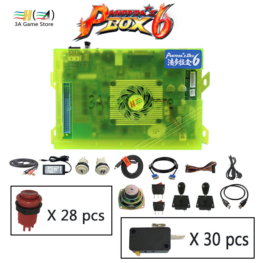 Usb arcade joystick buttons speaker diy machine parts kit Pandora box 6 1300 in 1 arcade controller console video game cabinet