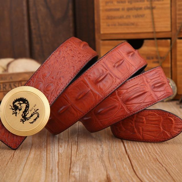 Crocodilo dragão mens cintos de luxo 2017 new hot designer cintos de alta qualidade de grão cheio de couro genuíno lobo de bronze sólido