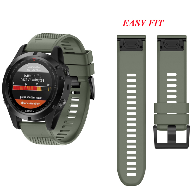 Fistar 26MM 22MM Quick Release Easy Fit Watch band Wrist Strap for Garmin Fenix 5X / 3 3HR Fenix 5 S60 /D2 Charlie /Descent Mk1