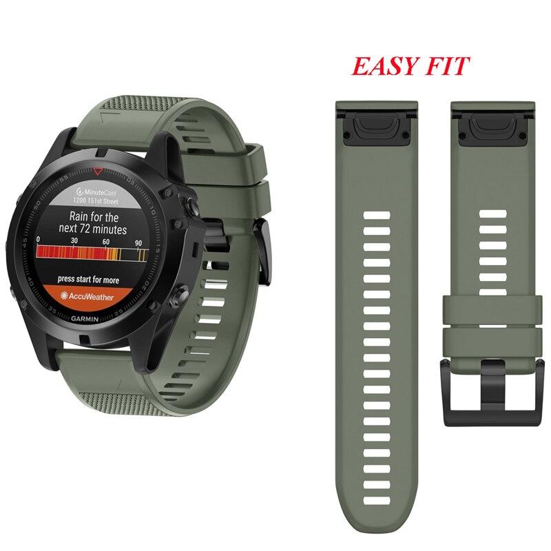 Fivstr 26mm 22mm de liberación rápida fácil ajuste banda de reloj de correa para la muñeca Garmin Fenix 5X/3 3HR Fenix 5 S60/D2 Charlie/descenso Mk1