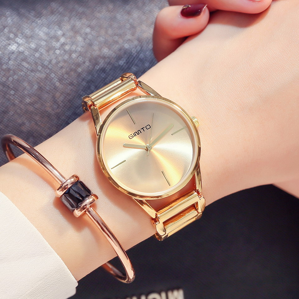 GIMTO Luxury Brand Gold Women Watches Steel Clock Quartz Hollow Bracelet Ladies Watch Female Dress Wristwatch relogio feminino stereo microscope 1 2ctv ccd camera interface electronics interface c interface electronic eyepiece interface