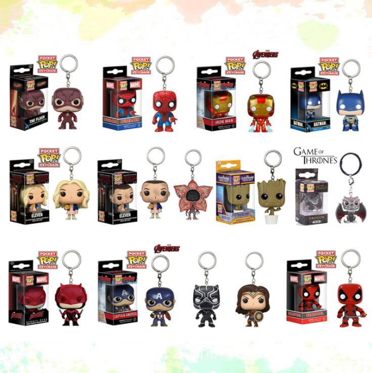 Hot Sale Marvel Magical super hero cartoon figure toys spider Man superman batman boxed PVC Keychain for kids gifts toys image