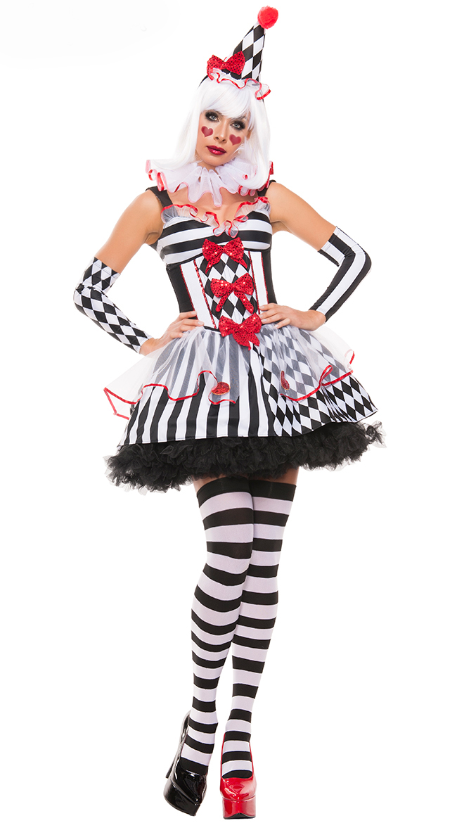 UTMEON New Super Luxury  Clown Circus Horror Costume Halloween High quality Ghosts Cosplay Fancy Dress Adult Women