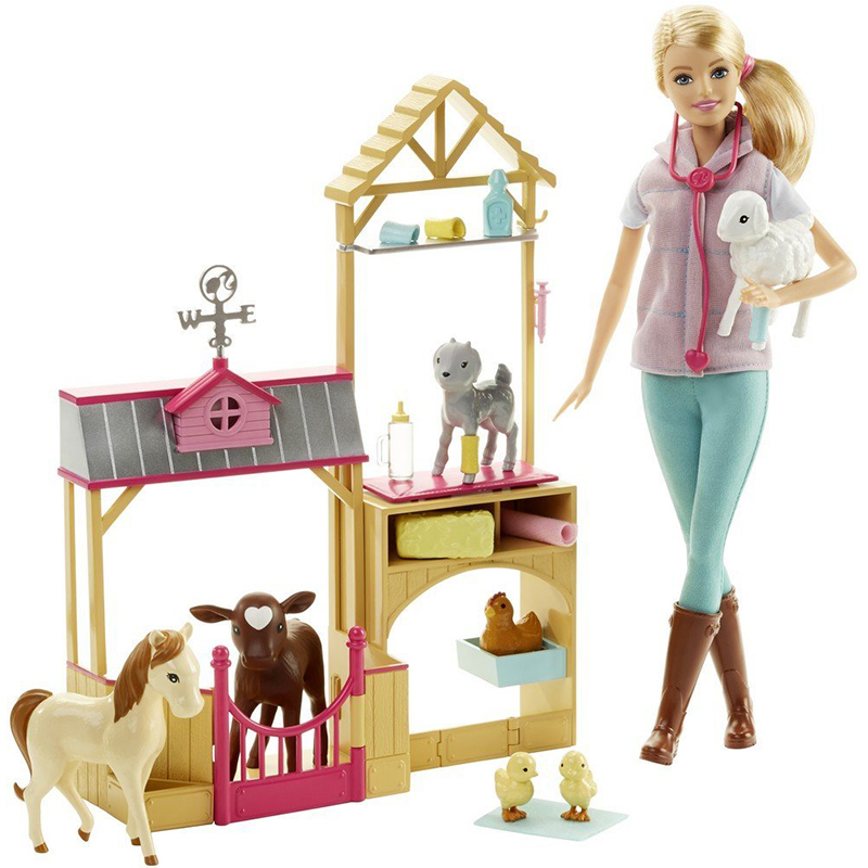 Original Barbie Animal Rescuer Doll & Playset Lovely Animal House Boneca  Beautiful Princess Hair  Kids  Dolls Toys for GirlsOriginal Barbie Animal Rescuer Doll & Playset Lovely Animal House Boneca  Beautiful Princess Hair  Kids  Dolls Toys for Girls