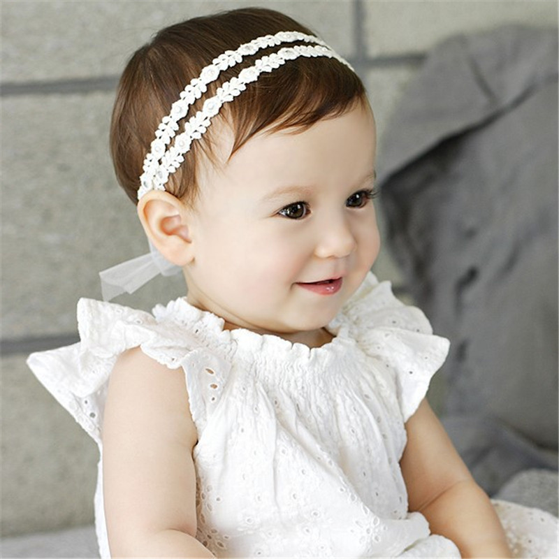 1 Pieces Newborn Headband lace organza Flower Pearl Diamond with A Shimmer Headbands Elasticity hair accessories
