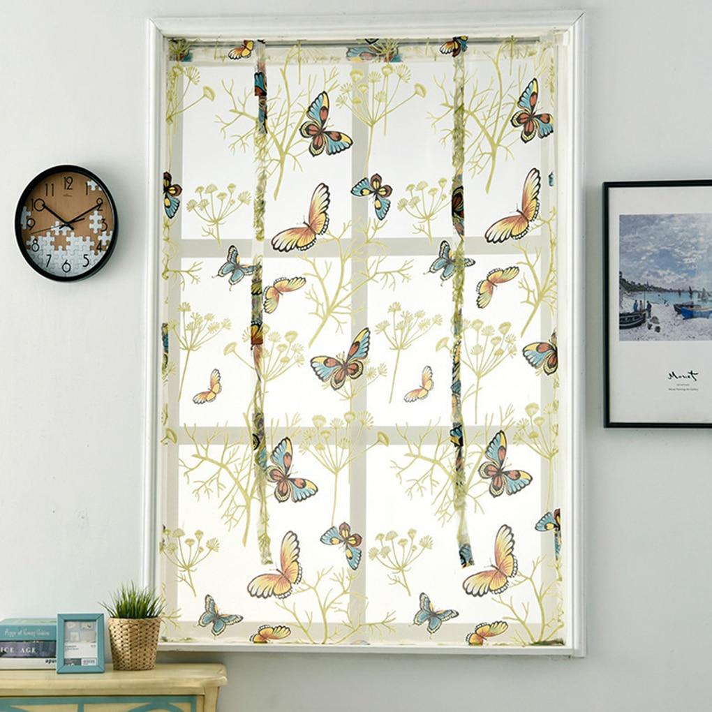 ❤ Best Buy Voile Print Kitchen Curtains Roman Window Shades ...