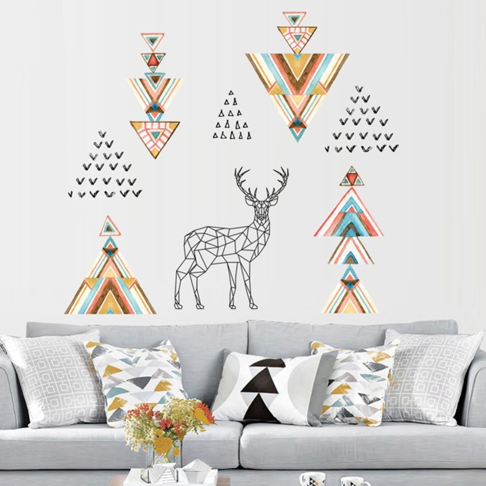 Elk Art PVC Wall Stickers Wallpapers for Study Living Room Office Lobby Background Decorations wallpaper