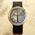 2017 Wholesale Latest Fashion Christmas Tree Of Life Watches Black Silicone Belt Blue LED Touch Screen LED Watch S-A13