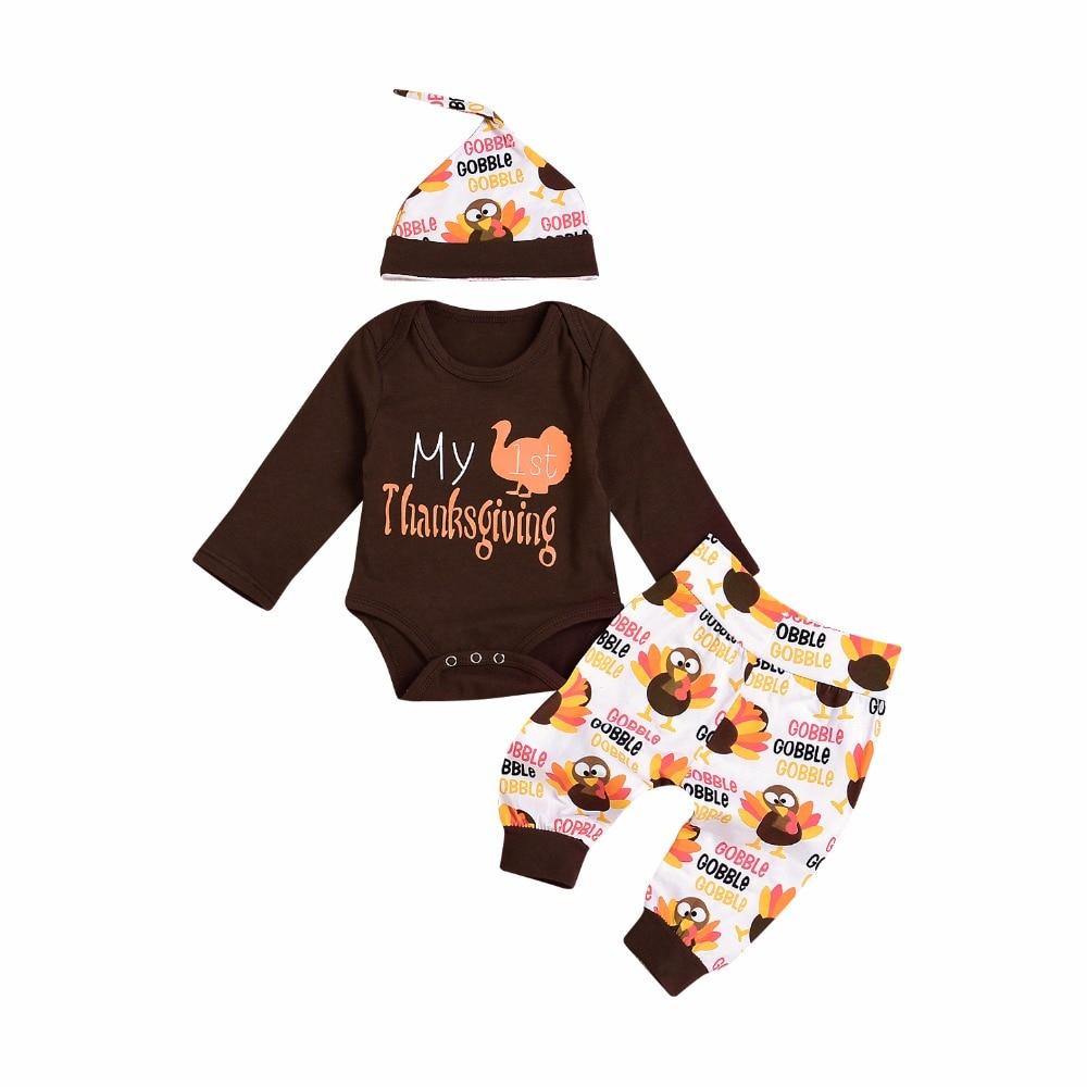 Bebé recién nacido niños niñas ropa mi primera carta de Acción de Gracias imprimir mono + Pantalones + sombrero unids 3 piezas conjuntos otoño ropa de bebé