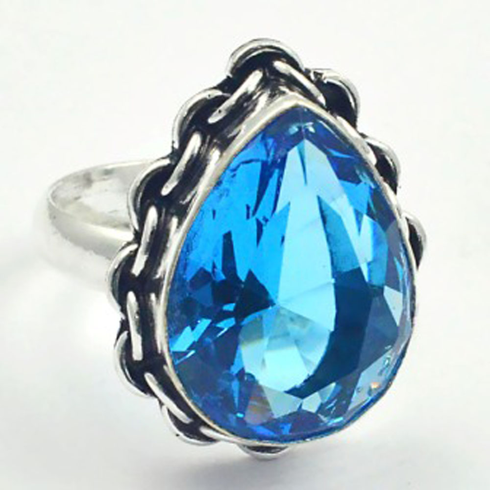 Blue Topas Ring Silver Overlay over Copper USA Size 8 75 R3306 in Rings from Jewelry Accessories