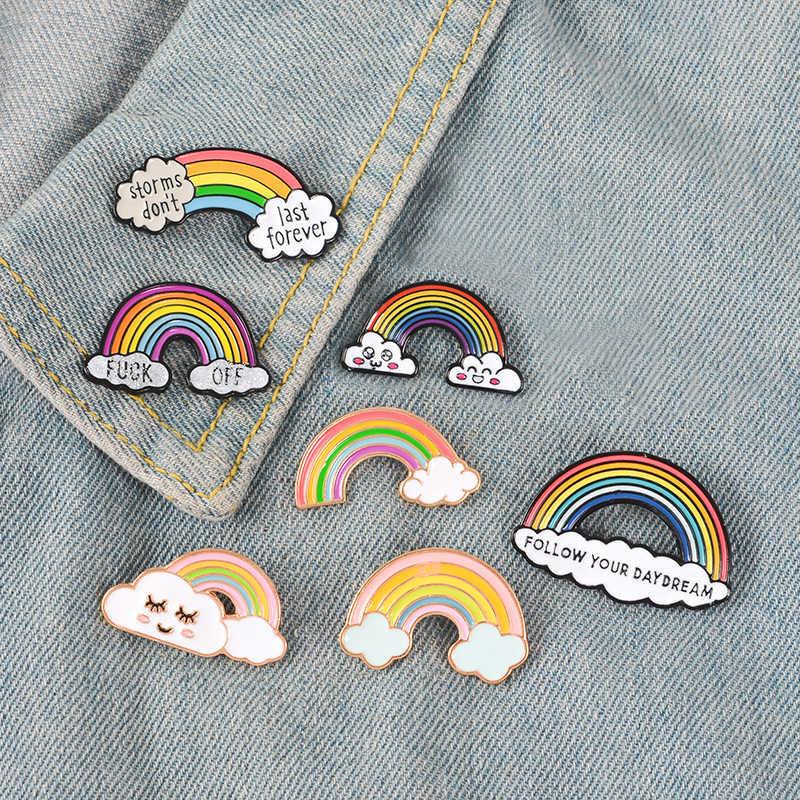 11 stili Del Fumetto Arcobaleno Nuvole Dello Smalto Spille Spille Colorate Collezione Spilla In Metallo Spilli Distintivo Regali per le Donne Degli Uomini Dei Bambini